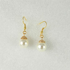1pair Gold Tone Alloy White Pearl Tone Acrylic Pendant Charm Earrings Ear Wires