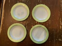 Vintage Pyrex Lime Green With Gold Trim 6.75 Inch Dessert Plate Set Of 4 G
