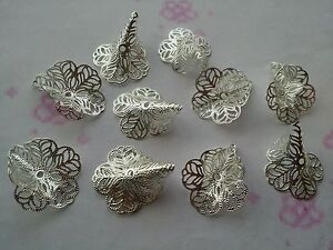 10 Extra Large Filigree Trumpet Lilly Flower Bead Caps Cone Silver Plated