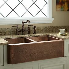 Signature Hardware 35 Double Bowl Hammered Copper Farmhouse Sink
