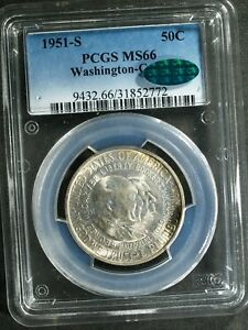 1951-S Washington-Carver Commem Silver Half $ - MS66 (PCGS, Green CAC)  stk#2772