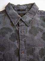 All Saints Strategy LS Shirt Men's Small Grey Leaf Pattern Vintage LSHz667 #