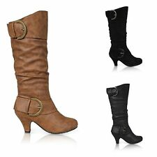Women's Synthetic Leather Cuban Mid Heel (1.5-3 in.) Boots