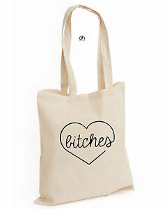 BEST BITCHES BEST FRIEND FLAWLESS COTTON TOTE TUMBLR PRESENT UNISEX (HEART,BAG)