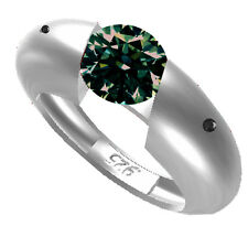 1.48 ct SI1./BROWN GREEN REAL MOISSANITE & NATURAL BLACK DIAMOND.925 SILVER RING