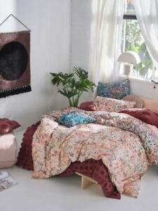 new 3PCS LINEN HOUSE Prairie Quilt Cover set cotton blue pink color king