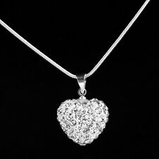 Locket Pendant Necklace Chain Silver Plated Rhinestone Crystal Heart