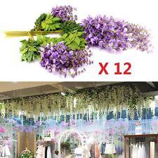 12x Artificial Silk Wisteria Wall Hanging Ivy Vine Garland Home Balcony Décor