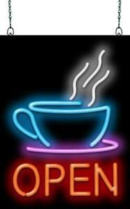 "Coffee Cup Open Neon Sign   Jantec   15"" x 20""   Diner Espresso Bar Tea Pastry"