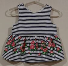 EUC Janie and Jack Girls 100% Cotton Striped Floral Top Size 12-18 Months