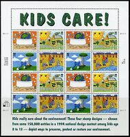 UNITED STATES SHEET OF 16  SCOTT#1951/54 KIDS CARE MINT NH STAMPS