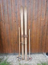 "Old Patina Skis 81"" Long with Metal Bindings and Old Bamboo Poles"