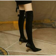 New Women's Pointy Toe Block Heels Thigh Over The Knee Boots Winter Shoes SIZE