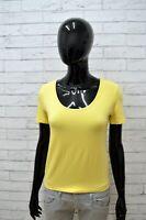Maglia TRUSSARDI Donna Taglia M Maglietta Shirt Woman Cotone Manica Corta Giallo