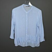 Zara Basic Striped Tiered Ruffle-Hem Blouse Shirt Size Large
