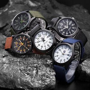 Fashion Men's Boy Military Army Sport Style Canvas Strap Quartz Wrist-Watch