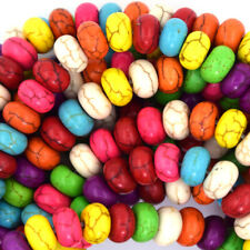 """8mm multicolor turquoise rondelle beads 16"""" strand"""