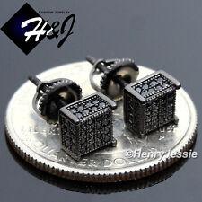 Black 3D Screw Back Stud Earring*Esb96 925 Sterling Silver 5Mm Lab Diamond Solid