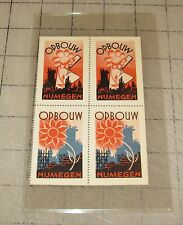 Vintage 4-Stamp Block - OPBOUW NIJMEGEN Netherlands - No Denomination Unused