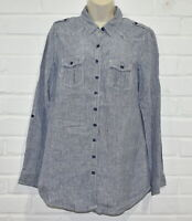 M&S Size 10 Long Sleeve Button Up Shirt Striped - Navy
