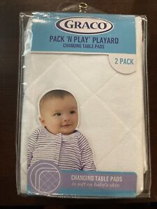 Graco ~ Pack 'N Play Playard 👶 ~ CHANGING TABLE PADS ~ White ~ 2 PACK NEW
