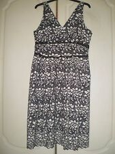 MARKS & SPENCER DRESS SIZE 14 PETITE BLACK & IVORY LACE COTTON MIX LINED BNWT