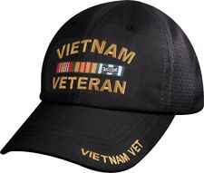Black Vietnam Veteran Deluxe Military Low Profile Mesh Back Baseball Hat Cap
