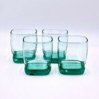 Set of 4 Libbey Carrington Green Double Old Fashioned Glasses Mancave Barware