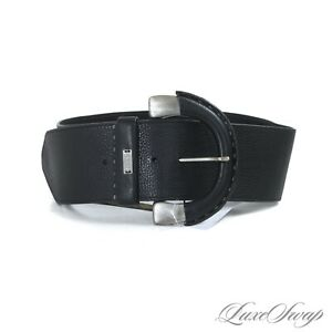 NWT Belstaff Made in Italy Ultrawide Black Leather Antiqued Silver Bkl Belt 85