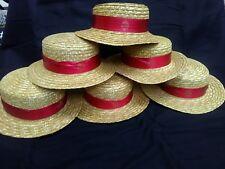 6 x Straw Hats Fancy Dress, Hen Night etc new