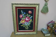 "Vintage Hand Made Stitched Needlepoint Framed 9"" x 12"" - 14"" x 18"" Floral"