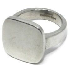 Embossed Stainless Steel Metal Square Ring Finger Ring