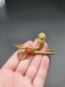 Vintage Antique Snake Egyptian Revival Scarab Bracelet Cuff