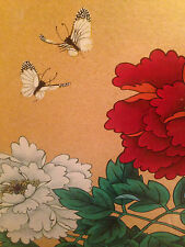 "HUI CHI MAU ORIGINAL PAINTING 23X17"" (IMAGE) RARE HTF CHINESE FLOWERS BUTTERFLY"