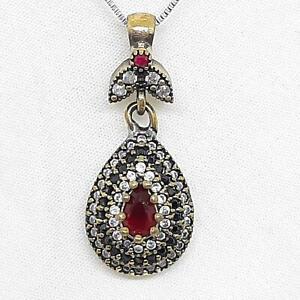 Deco 1.10ctw Ruby, Spinel & Diamond Cut Sapphire 14K Yellow Gold Silver Pendant
