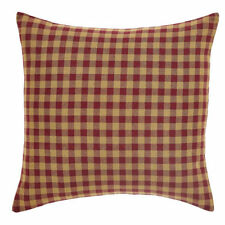 "New Primitive Country Homespun Burgundy & Tan Checked Decorative Pillow 16"""