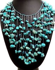 "Dangling Genuine Turquoise Gemstone Bib Statement Necklace 18-20"" Japanese Silk"