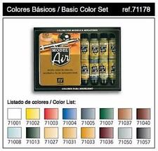 Vallejo Acrylic Model Air Basic Colors Airbrush Paint Set X16 17ml VAL 71178