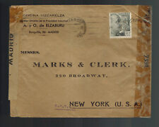 1944 Madrid Spain Dual Censored Cover to New York USA Commercial Perfin