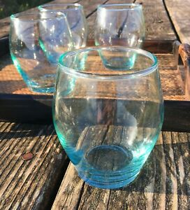 Set of 4 fairtrade recycled glass tumblers/glasses