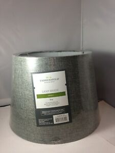 Linen Drum Lamp Shade Gray - Threshold