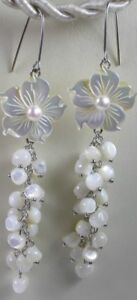 Bridal White  MOTHER OF PEARL FLOWER STERLING SILVER EARRINGS WITH PEARLS