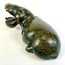 More details for vintg serpentine rock shona sculpture green happy hippo steven chatsana zimbabwe