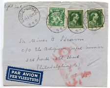 BELGIUM 1945 Air cover Uccle to Philadelphia USA deformed red OAT cachet