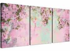 Shabby Chic Pale Dusky Pink Flowers Floral Canvas Split 3 Panel - 3281