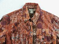 Lucky Brand Womens Small Semi Sheer Collard Long Sleeve Button Shirt Top Peasant