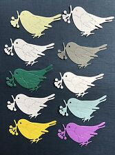 10 Paper Die Cuts. Bird With А Branch. Cardmakind Embellishment.