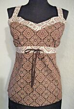 Ann Taylor Top Size 6 Brown White Red Print Cotton Sleeveless Partly Lined #672