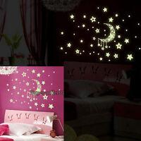 Fluorescent Glow In The Dark Stars Wall Stickers Kids Bedroom Nursery Room Decor