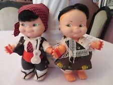 """2 VINTAGE RUBBER & PLASTIC GYPSY DOLLS """" REAL """" HAIR & CUTE CLOTHES COLLECTIBLE"""